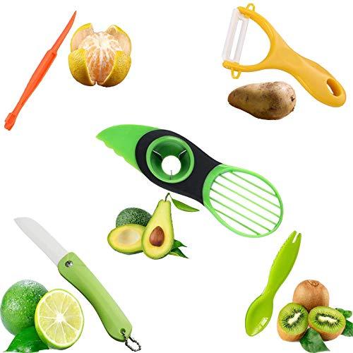 Juego de 5 piezas de cuchillo de fruta y cuchillo de pelar, cortador de aguacate, cuchillo de pelar de cerámica, cuchillo de cerámica plegable, pelador de cítricos, cuchillo de kiwi, un llavero gratis
