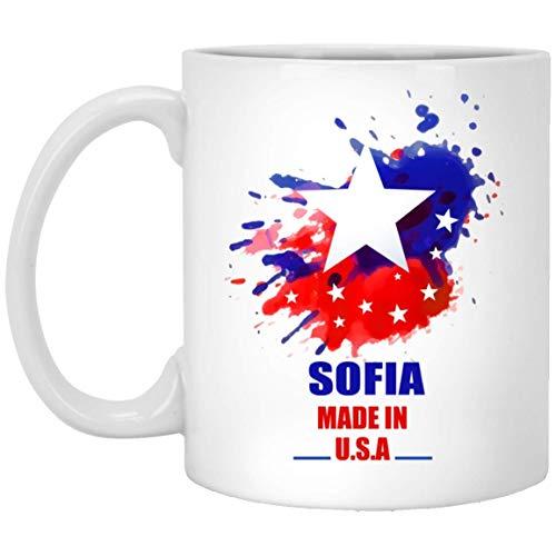 N\A Personalisierte Becher Tasse für Kinder - Sofia Made In USA Flagge Aquarell - Super Geschenke Tassen für ihn, sie am Geburtstag - weiße Keramik