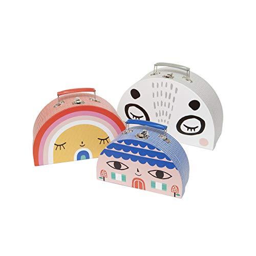 Spiel Koffer Set 3-teilig mit bunten lustigen Motiven, verschiedene Designs, 3 Größen Petit Monkey (KAWAII bunt)