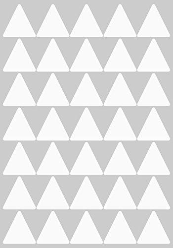70 Aufkleber, Dreieck, Sticker, 40 mm, weiß, PVC, Folie, Vinyl, glänzend, Klebemarkierung, selbstklebend