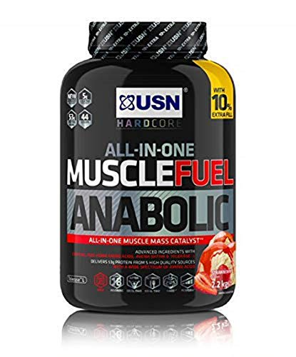 USN Muscle Fuel Anabolic All in one Muscle Building protein shake with Creatine, Strawberry, 2.2 Kg,