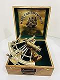 Sextante náutico de latón antiguo hecho a mano de 20,32 cm con caja de madera | Sextante de navegación | Sextante real | Vintage antiguo marítimo coleccionable Sextante
