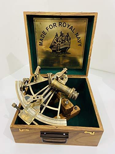 Nautischer 20,3 cm großer handgefertigter Messing-Sextant mit Holzbox | Navigations-Sextant | echter Sextant | Vintage Antik Maritim Sammlerstück Sextant Geschenk