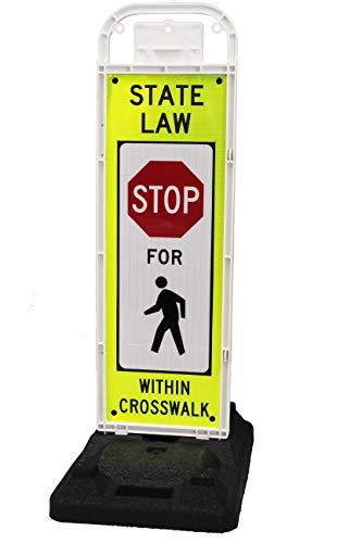 Stop for Pedestrian Crossing Sign for School Zone/Crosswalks - U-Frame & 32lb U-Base