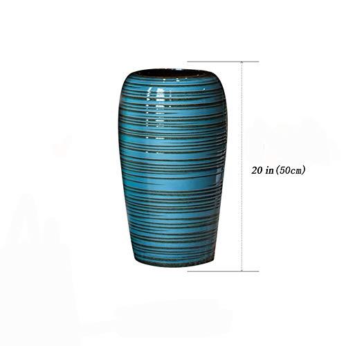 DDGOD da Terra Porta ombrelli Cremagliera,Porcellana Portaombrelli Anticato Stile Vintage Ceramiche Cinese per Fiore Vaso Floreale-Blu 20x20x50cm(8x8x20)