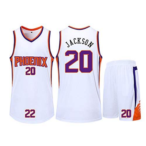 XSJY Unisex-Basketball-T-Shirt - Sommer Basketball-Trikot NBA Phoenix Suns 20# Josh Jackson Fan Jersey Gestickte Ärmel Top Und Shorts,Weiß,2XL:170~175CM