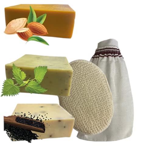 3 Naturseifen mit Peeling Handschuhen im Set - Handgemachte Naturseifen Mandelölseife, Brennesselseife & Schwarzkümmel Seife - Natürlich und Vegan - Handarbeit mit Tradition