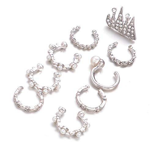 9pcs / Set Pendientes Clip Perlas Punk para Mujer Bohemian Silver