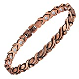 Feraco Womens Copper Magnetic Bracelet Unique Fishtail Links 99.9% Solid Copper Bracelets with Strong Magnets for Arthritis Pain Relief