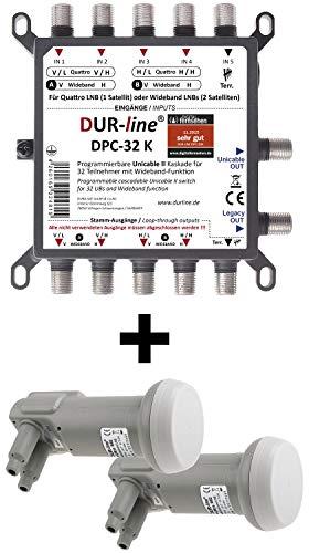 DUR-line DPC-32 K LNB Set - Unicable I+II Wideband Multischalter +2xLNB Set für 32 Teilnehmer - 2 Satelliten + Terr. – Einkabellösung, Mit Netzteil