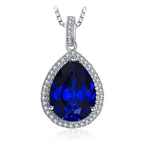 JewelryPalace 11.08ct Blau Synthetisch Tropfenschliff Saphir Luxus Anhänger Halskette Kette 925 Sterlingsilber