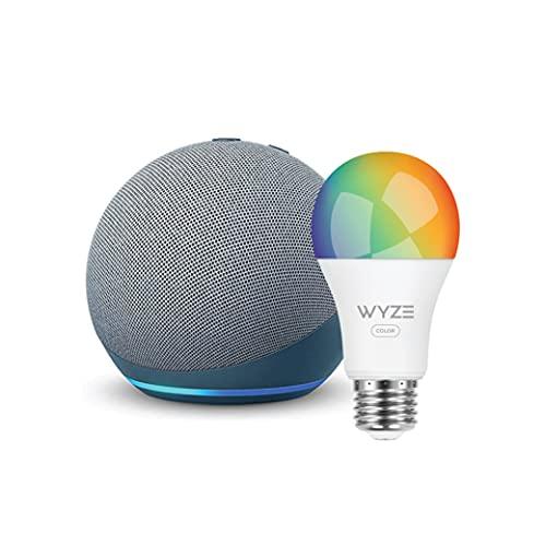 Echo Dot (4th Gen) | Smart speaker with Alexa | Twilight Blue with Wyze Color bulb
