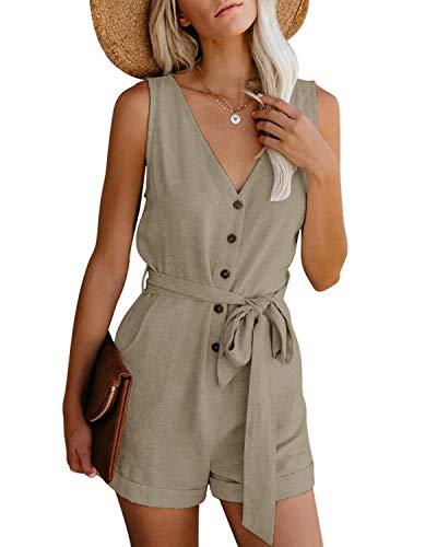 CNFIO Monos Cortos Mujer Verano Vestir Mujer Elegante Petos Mujer Verano Trabajos Pantalones Cortos A-Caqui L
