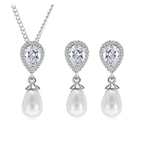 Hanie - Conjunto de pendientes y collar de perlas de plata con lágrima blanca y circonitas cúbicas colgantes, pendientes y colgante, joyería elegante para novia, con vestido de novia