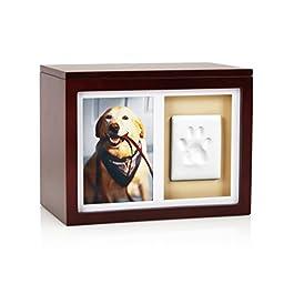 Pearhead Dog Or Cat Paw Prints Pet Memory Box With Clay Imprint Kit, Perfect Pet Memorial Espresso