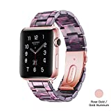 Light Apple Watch Band - Fashion Resin iWatch Band Bracelet Compatible with Copper Stainless Steel Buckle for Apple Watch Series 5 4 3 2 1 (Light Purple - for Rose Gold, 38mm/40mm)
