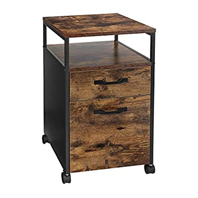 VASAGLE Rolling File Cabinet, Mobile Office Cabinet on Wheels, with 2 Drawers, Open Shelf, for A4, Letter Size, Hanging File Folders, Industrial Style, Rustic Brown and Black UOFC71X by VASAGLE