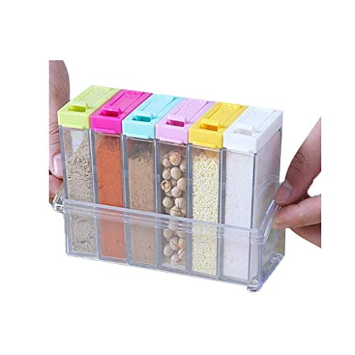 LHQ-HQ Botella de plástico condimentos, Simple Rack compartida y Linda Prueba de Fugas de Cocina condimento Caja de Almacenamiento Tarro de Especias
