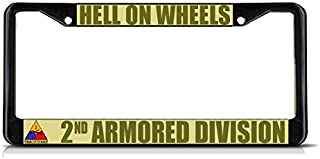 Sign Destination Metal Insert License Plate Frame Hell on Wheels 2Nd Armored Division Army Weatherproof Car Accessories Black 2 Holes Solid Insert 1 Frame