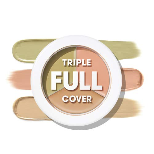ACONCEPT Triple Color Full Cover Concealers - Color Correcting High Adhesive Concealer without Clumping and Cracking, Covers Blemishes, Freckles and Dark Circles
