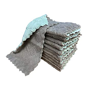 kimteny 12 Pack Kitchen Cloth Dish Towels Premium Dishcloths Super Absorbent Coral Velvet Dishtowels Nonstick Oil Washable Fast Drying  Green-Grey