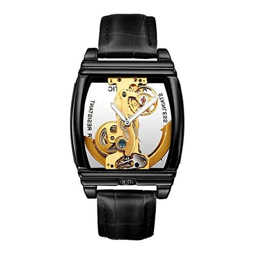Reloj mecánico automático para hombre, reloj de cuero con cuerda automática, CHFYG (color: negro y negro)