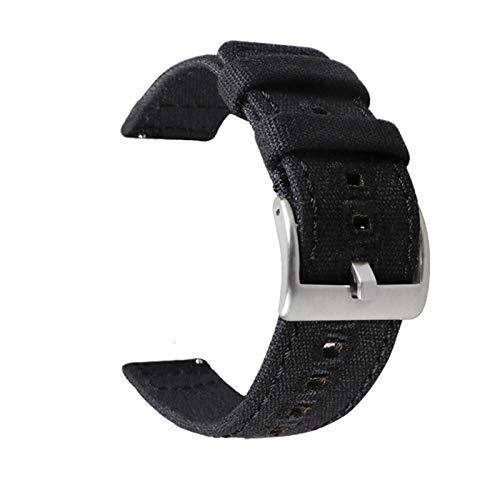 MGHN Correa de Reloj de Nailon 18 mm 20 mm 22 mm de Reloj de Lona de Lona de Nylon Correa de Pulsera de liberación rápida (Band Color : Black S, Band Width : 22mm)