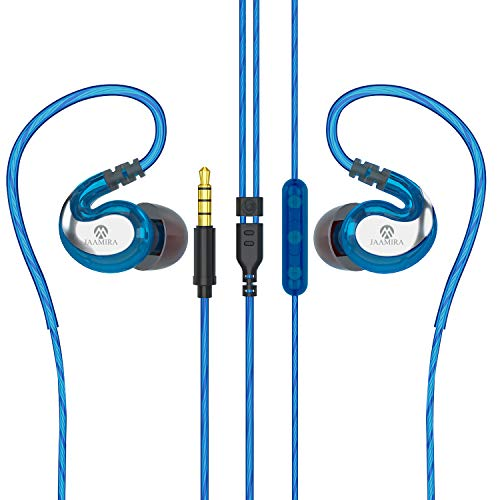 JAAMIRA Sports Wired Earbuds in-Ear Earphones with Microphone &Volume Control -Bass &Noise Cancelling Over Ear Headphones with 3.5mm Jack -for Android Phone iPhone Computer Gaming Workout IPX4 Blue