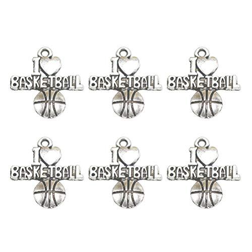 TENDYCOCO 50 stücke Anhänger Legierung Bezaubert Basketball Charms DIY Schmuckherstellung Zubehör für Halskette Armband (Antik Silber)