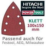 Hitachi–753423–Lot de 10 papiers de verre pour ponceuses orbitales type delta 100x 150mm Grain 80avec Velcro-