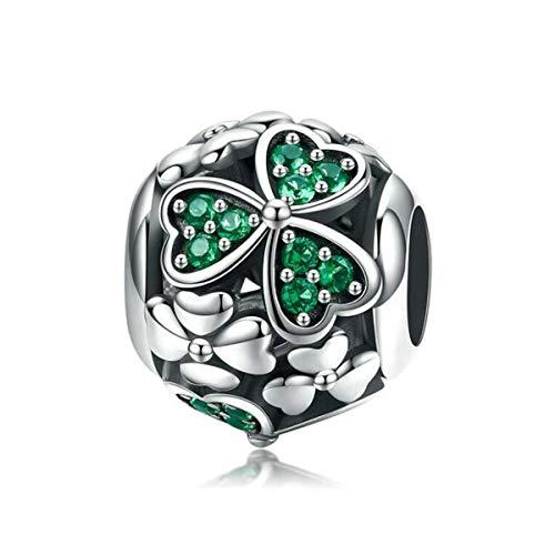 Charm a forma di girasole, in argento Sterling 925, per braccialetti Pandora e Argento, colore: Ciondolo a forma di quadrifoglio, cod. YS-SS3325