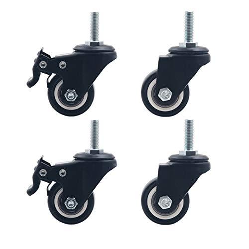 tian xing jian zhi 4 Möbelrollen, Räder ohne Bremsen, Metallwerkstoffe, Druck- und Abriebfestigkeit, verwendet in Einkaufswagen, Schränken, Kaffeetischen(2.0 inch)