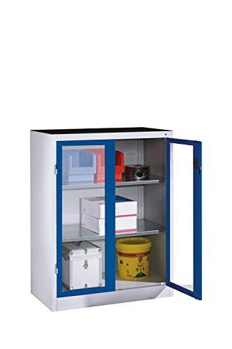 Werkzeug-Beistellschrank mit Sichtfenster-Drehtüren, 2 Böden, H1200xB930xT500mm
