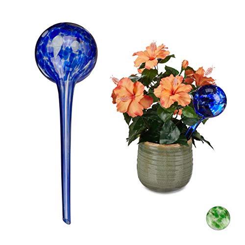 Relaxdays bewateringsballen set van 2, gedoseerde planten irrigatie, bloempot, giethulp kantoor, vakantie, glas Ø 9 cm, blauw, 2 stuks