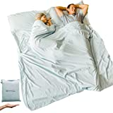 VITAMIN SEA Cotton Sleeping Bag Liner Ultralight - Camping Sheets Lightweight - Queen Travel Sheet - Sleep Sack Adult - Double Travel Sheets for Hotel (Light Blue, Double Two Person Queen Size)