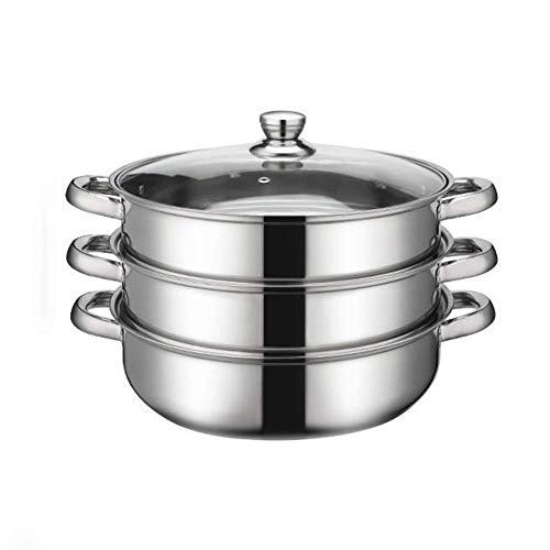 GCP Juego de sartén para vaporera de Acero Inoxidable de 3 Niveles con Base Antiadherente Juego de ollas de cocción múltiple Sartén para cocinar Alimentos Tapa de Vidrio Sartén Apta para lavavaj