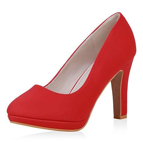 SCARPE VITA Damen Pumps High Heels Klassisch Absatzschuhe Leder-Optik Schuhe Stiletto Party Abendschuhe 193528 Rot Total 39