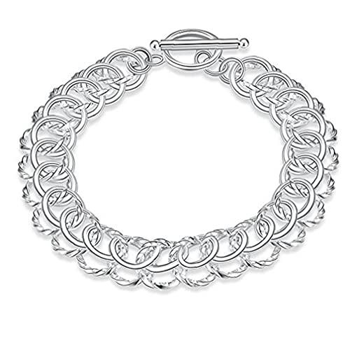 CUCUFA Nouveaux Bijoux De Mode Classic New Solid Silver Boucle Bracelet Femmes Hommes 925 Bijoux + Pochette Velvet