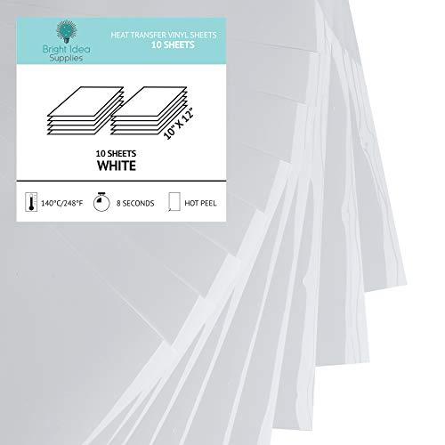 Bright Idea Supplies White Heat Transfer Vinyl - HTV Vinyl Sheets - 10 Pack - Iron On Vinyl for Cricut, Silhouette Cameo and Heat Press - White Iron On Vinyl, White HTV Heat Vinyl Transfer for Shirts