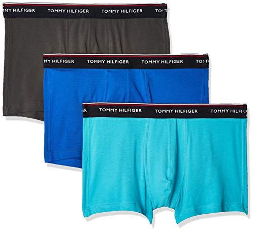 Tommy Hilfiger 3p Trunk Ropa Interior, Verde Azulado Acuático/Ceniza Oscura/Azul Eléctrico, MD...