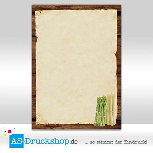 Designpapier Spargel - Weißer Spargel und grüner Spargel / 100 Blatt/DIN A4 / 90 g-Offsetpapier