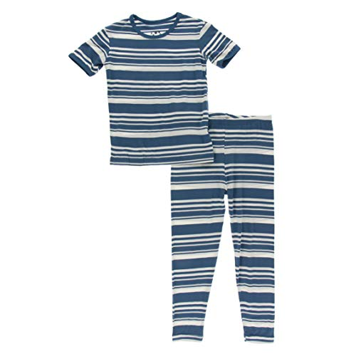 KicKee Pants - Print Pajama Set with Short Sleeve Tee, Ultra Soft and Snug Fitting PJ's - Matching Top and Bottom Sleepwear Set, Newborn to Baby Pajamas (Fishing Stripe - 4T)