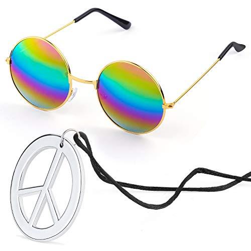 Beelittle Hippie Kostümzubehör für Herren und Damen - Retro John Lennon Hippie 60er Jahre Kreis Brille Friedenszeichen Halskette (Regenbogen)