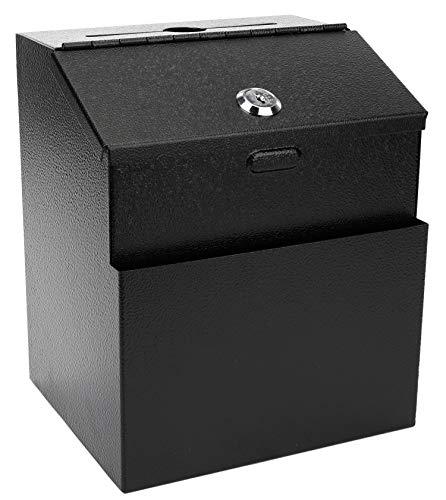 Lawei Steel Suggestion Box with Lock Wall Mountable - Black Donation Box Collection Box Ballot Box Key Drop Box