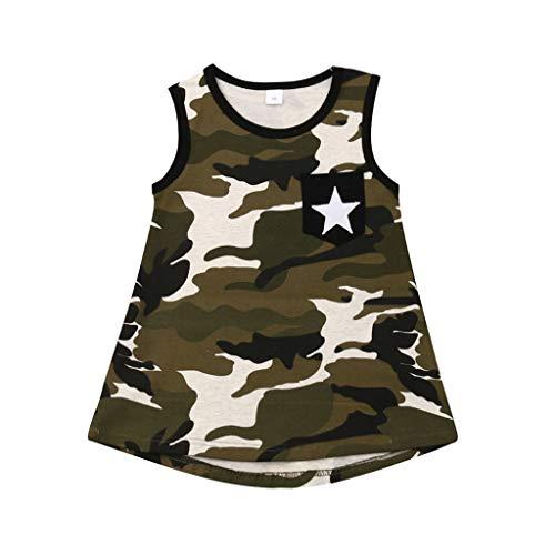 Julhold Zomer Peuter Baby Meisjes Mode Ademende Mouwloze Sterren Camouflage Katoen Print Jurk Kleding 1-4Years 2019