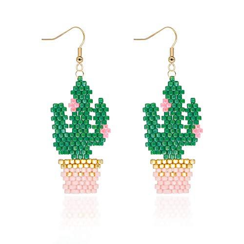 Pendientes Mujer Colgantes de Cactus Regalos Originales Hechos a Mano para Niñas