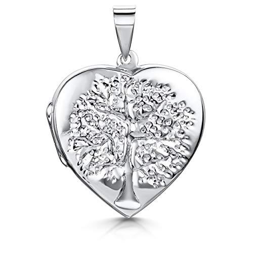Amberta 925 Sterling Silber - Lebensbaum graviert - Herzform Anhänger - Eröffnung Medaillon für Frauen - für Birthstone Charm oder Foto