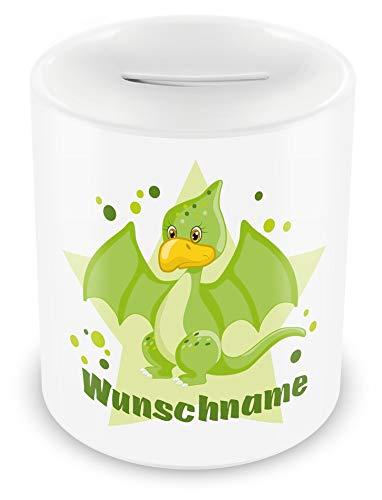 Samunshi® Kinder Spardose mit Namen und Grüner Dino als Motiv für Kinder - Jungen und Mädchen Sparschwein weiß