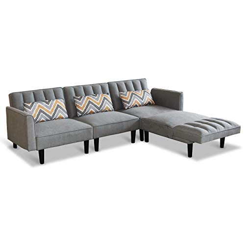 Modern Convertible Sectional Sofa Couch with Reversible Chaise Lounge L-Shaped Linen Fabric Sofa Sets with Adjustable Back Sofa Bed for Living Room Office (Four-Seater, Light Grey)