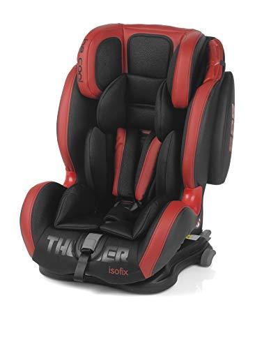 Be Cool Thunder Iso Seggiolino Auto Gruppo 1 2 3, da 9 a 36 Kg, Isofix, 4 Posizioni Reclinazione, Poggiatesta e Imbracatura Regolabili, Red Devil